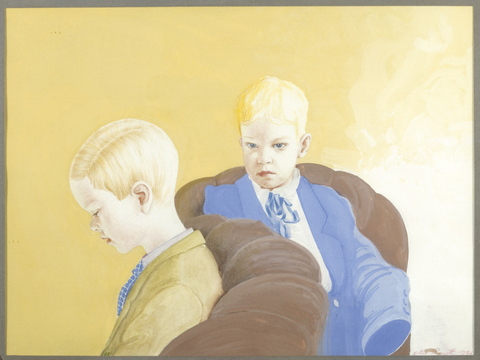 Olli Lyytik�inen,, Portr�tt av pojkarna / Portrait of the Boys, 1971. Gouache och f�rgpenna / Gouache and colour pen, 22,5 x 30 cm. Privat �go / Private Collection,