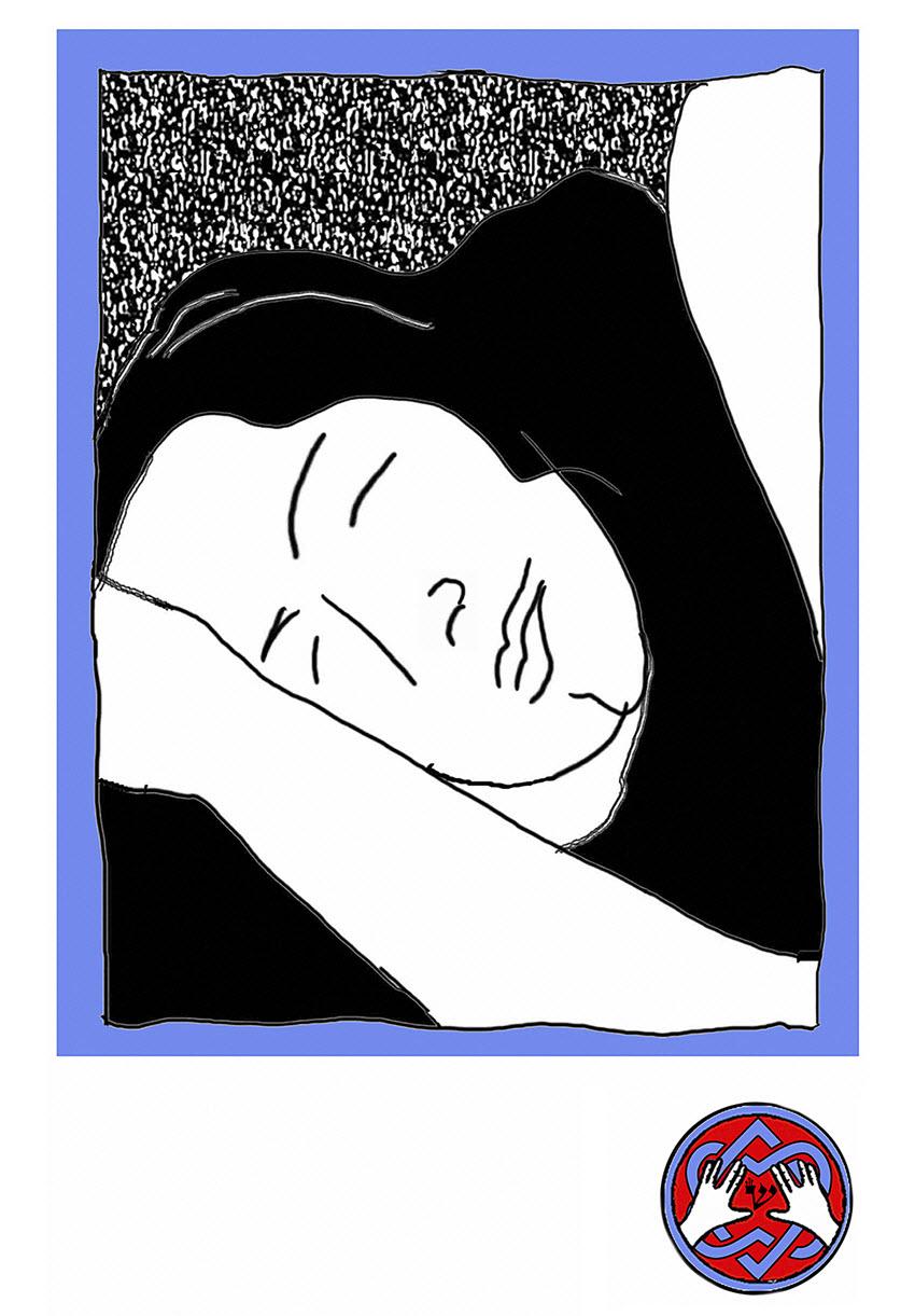 Leonard Cohen, &amp;quot;Asleep at last&amp;quot;<BR>Permanent pigment ink on archival<BR>300 lb. watercolor paper<BR>76 x 51 cm,