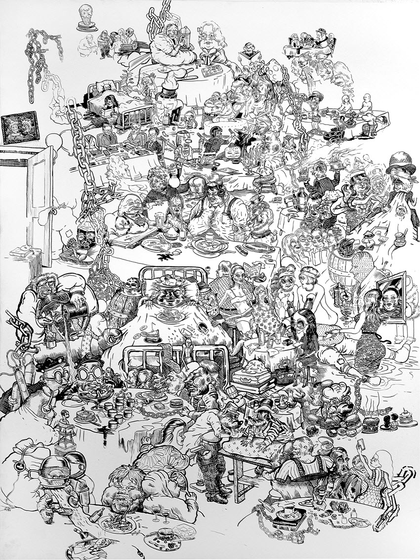 Daniel Davidson, &amp;quot;Racing Thoughts IV&amp;quot;<BR>2015, archival ink on prepared panel<BR>61 x 46 cm, 24&amp;quot; x 18&amp;quot;,