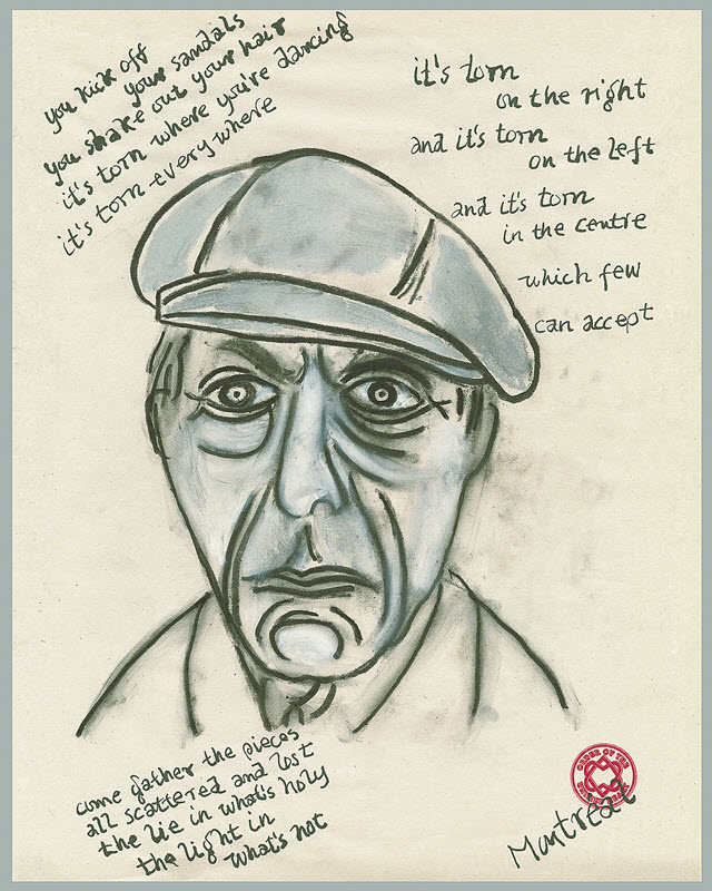 Leonard Cohen, �Come gather� permanent pigment ink on archival 300lb.<BR>watercolor paper, 38 x 30.5 cm,