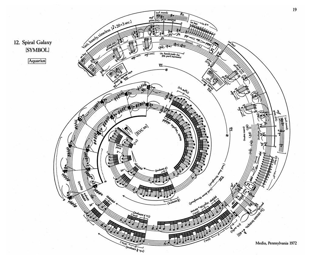 George Crumb, Makrokosmos I, Spiral Galaxy. Copyright C.F Peters Corporation,
