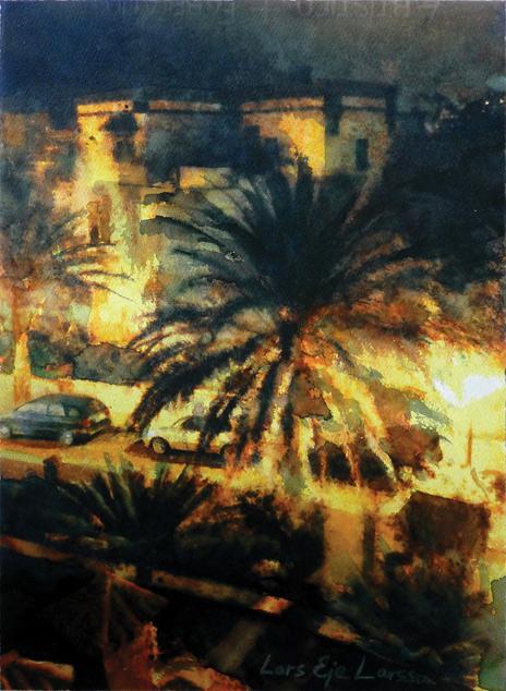 Lars Eje Larsson, Nattbild, Las Palmas 35 x 25 cm, akvarell ,